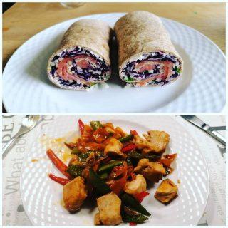 Frokost og aftensmad fra fit.nu. 😍 Virkelig lækkert! Okay jeg har taget den nemme løsning og købt færdig salat til wrappen i Rema men det skal gå stærkt og så er det bedre end at falde ind i noget usundt. Sikker på at blivfitnu også godkender lidt andet salat end det i opskriften! Kylling woken til aften smagte super skønt! 😍👌 #blivfitnu #kampenmodkiloene #sundkost #kostplan